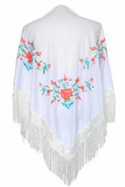 Spaanse manton/omslagdoek, wit met diverse kleine bloemen
