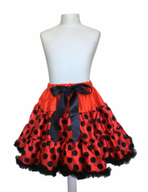 Petticoat tutu rokje rood met zwarte stippen, Luxe
