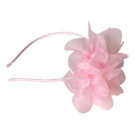 Prinsessen haarband licht roze grote bloem