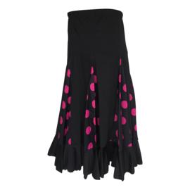 Spaanse flamenco rok meisjes zwart met roze stippen