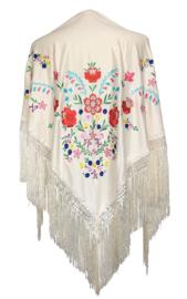 Spaanse manton/omslagdoek creme wit diverse kleuren bloemen