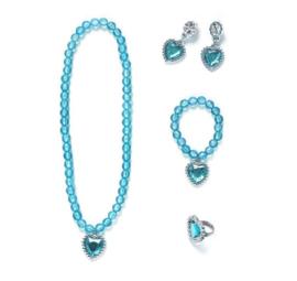 Prinsessen set blauw- ketting, armband, oorbellen + ring