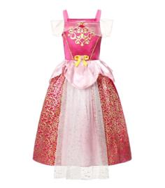 Doornroosje jurk fel roze + broche en GRATIS haarband