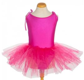 Balletpakje tutu met striklinten fuchsia roze
