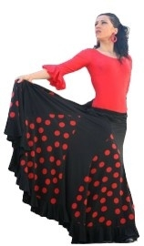 Flamenco skirt ladies black red dots
