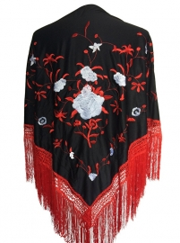 Flamenco shawl black red white flower Large