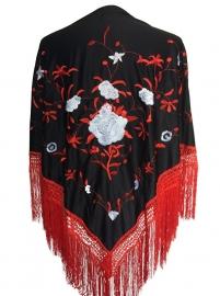 Spaanse manton/omslagdoek zwart rood witte bloem LARGE