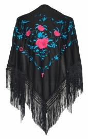 Spaanse manton omslagdoek zwart blauw met roze rozen