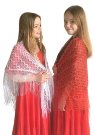 Spaanse manton/omslagdoek KANT rood, wit of zwart