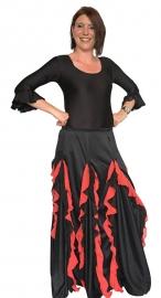 Flamenco rok dames met verticale rode volantes