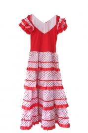 Spaanse jurk  dames rood/wit