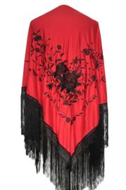 Spaanse manton/omslagdoek rood zwart - zwarte franjes L