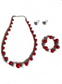 Spaanse ketting, oorbellen en armband, rood/wit