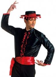 Flamenco blouse heren zwart rood