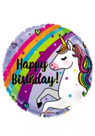 Folie ballon 45 cm Eenhoorn Unicorn happy birthday
