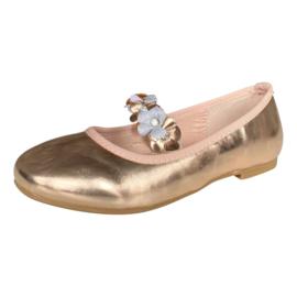 Ballerina schoenen Flores  rosé goud met hakje