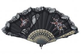 Spaanse flamenco waaier zwart kant bloemen XL
