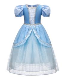 Prinsessenkleedje blauw Superior + mouwen + GRATIS kroon