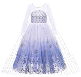 Elsa IJskristallen kleedje wit blauw Deluxe met sleep + kroon