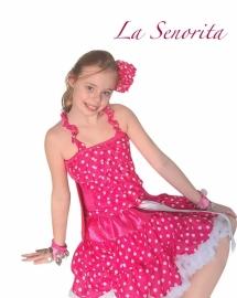 Flamenco hair flower pink white dots