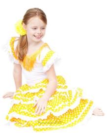 Spaanse jurk geel wit