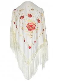 Spaanse manton/omslagdoek creme wit/rood goud