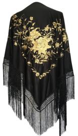 Spaanse manton/omslagdoek zwart gouden bloemen LARGE