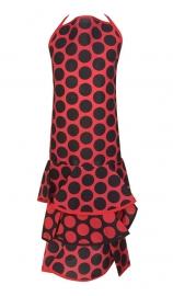 Spaanse flamenco schort rood met grote zwarte stippen