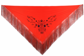 Spaanse manton/omslagdoek rood zwart franjes rood zwart L