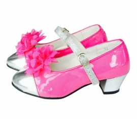 Spaanse Schoenen Clip bloem fel roze