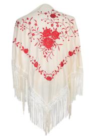 Spaanse manton/omslagdoek creme wit rode bloemen