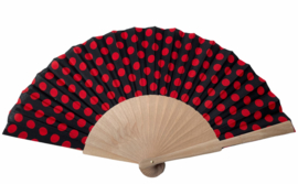 Flamenco waaier zwart rood stof en hout