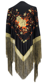Flamenco shawl black orange gold, Large