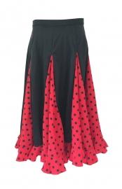 Jupe Flamenco Fille rouge à pois noir