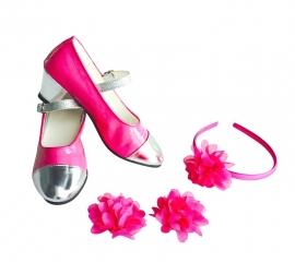 Spaanse haarband en schoenclips - fel roze