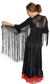 Spaanse Mantoncillo de Crochet zwart