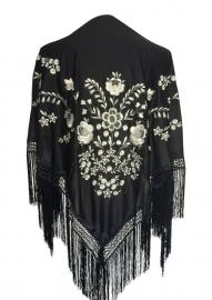 Spaanse manton/omslagdoek zwart met witte bloemen