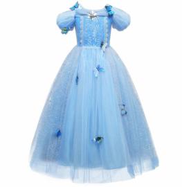Prinsessenjurk blauw vlinders korte mouw Luxe + GRATIS kroon