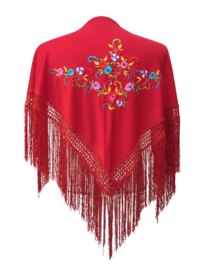 Spaanse manton donker rood diverse bloemen SMALL