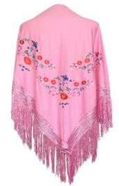 Spaanse manton/omslagdoek roze diverse kleuren bloemen
