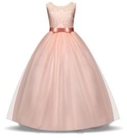 Communie jurk prinsessenjurk zalm roze + bloemenkrans