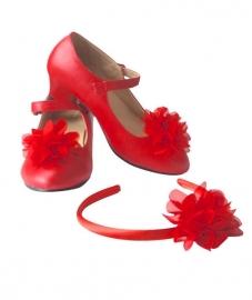 Spaanse haarband en schoenclips - rood
