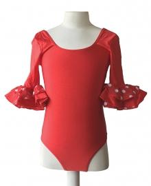 Flamenco body meisjes rood wit - met 3/4 mouw