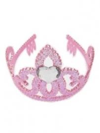 Tiara / kroontje roze met hartje