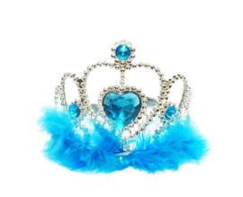 Tiara / Kroontje blauw met veren