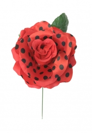 Flamenco rose red black dots