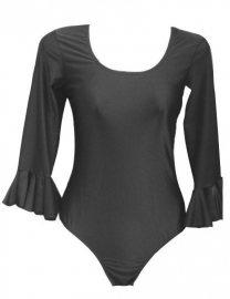 Flamenco body meisjes zwart - met 3/4 mouw