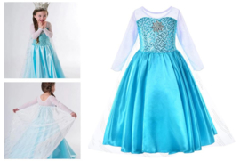Elsa jurk blauw met ster + GRATIS ketting