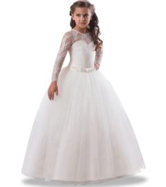 Communie jurk wit met kant en lange mouwen + bloemenkrans