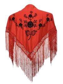 Spaanse manton/omslagdoek rood/zwart SMALL